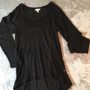 Eyeshadow Black See-Through Knit Tunic